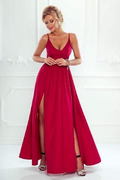 40a6af4746c Dlouhé šaty s rozparky NINA vínové empty