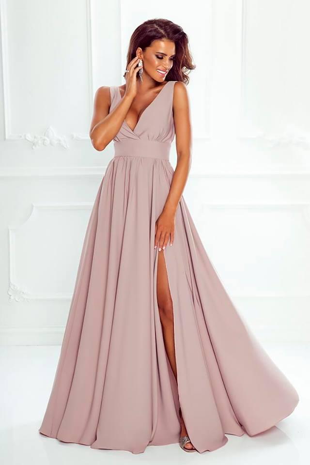 acacca7d8068 Dlouhé elegantní šaty NANA béžové
