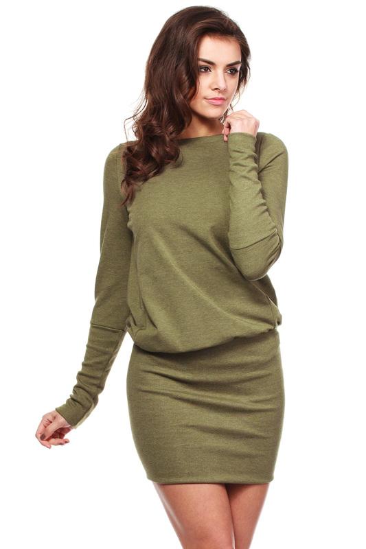 Pletené šaty MOE143 KHAKI
