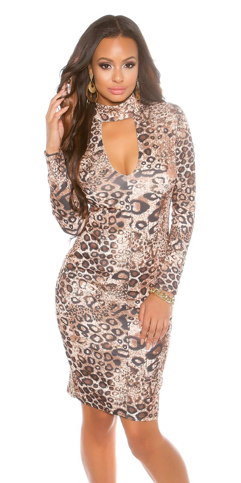 Koktejlové šaty Koucla leopardí