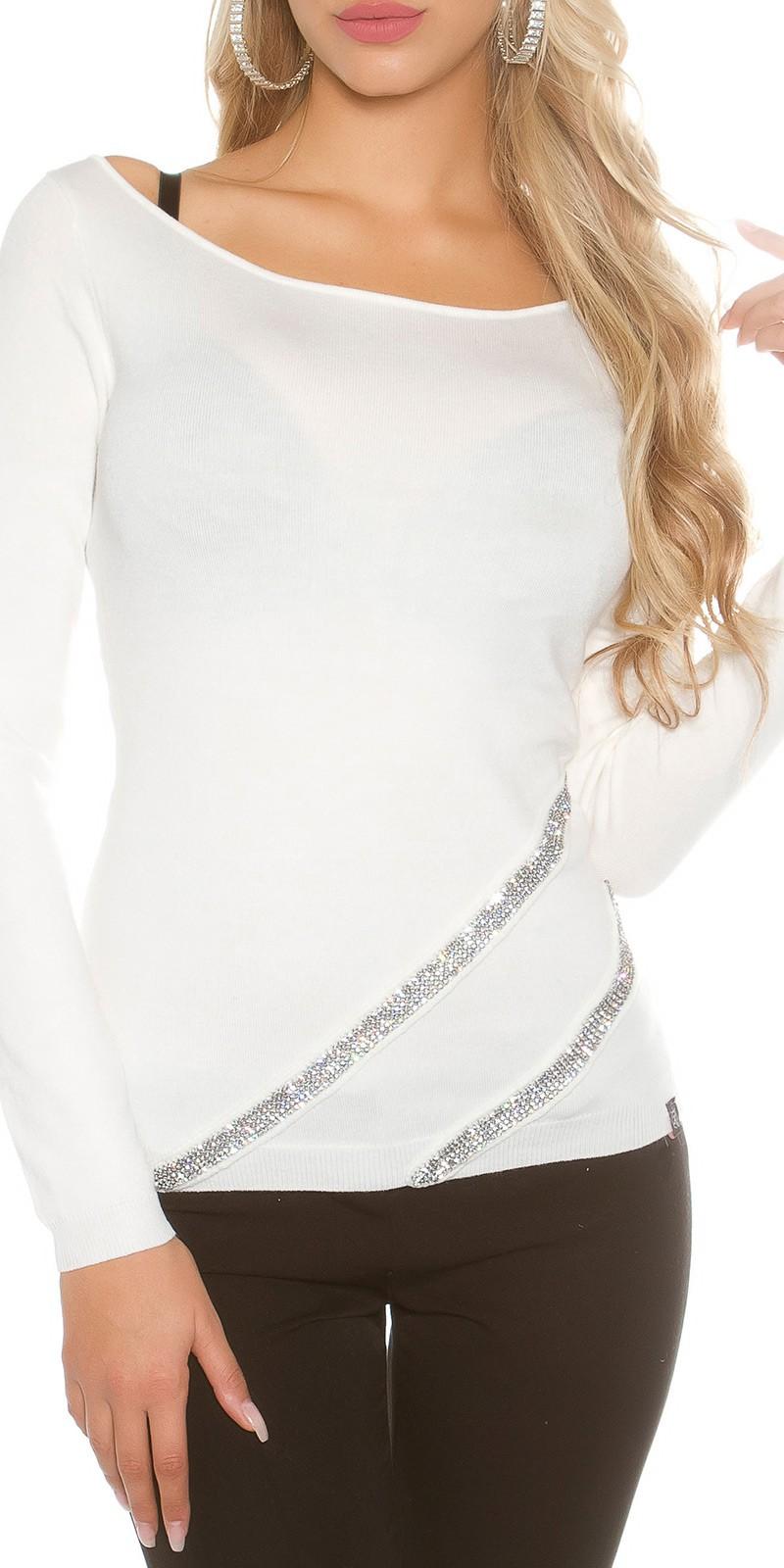 Jemný pletený svetr Koucla s kamínky bílý