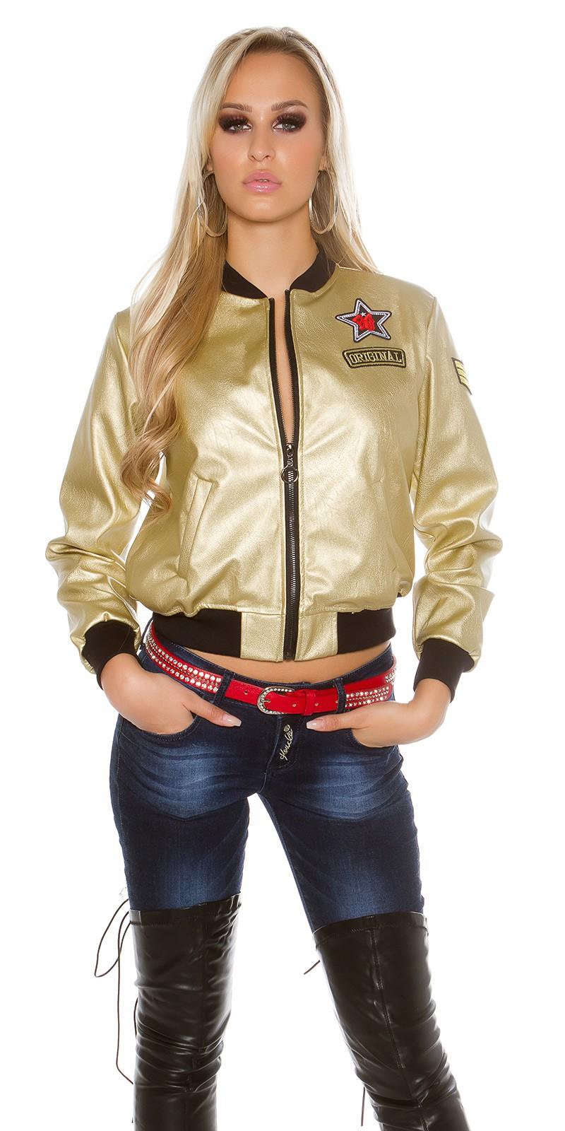 Dámská bunda bomber zlatá