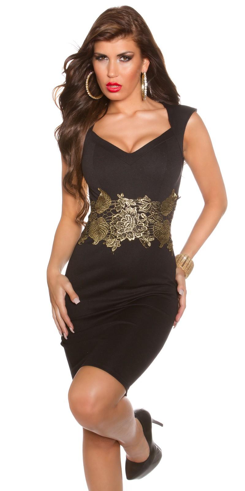 Koktejlové šaty s krajkou Koucla černé