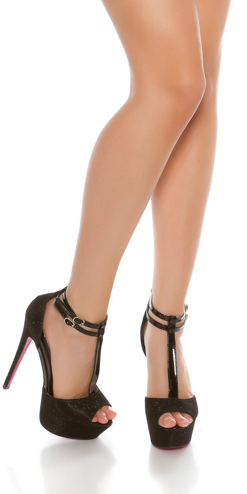 Sexy boty na vysokém podpatku s třpytkami černé