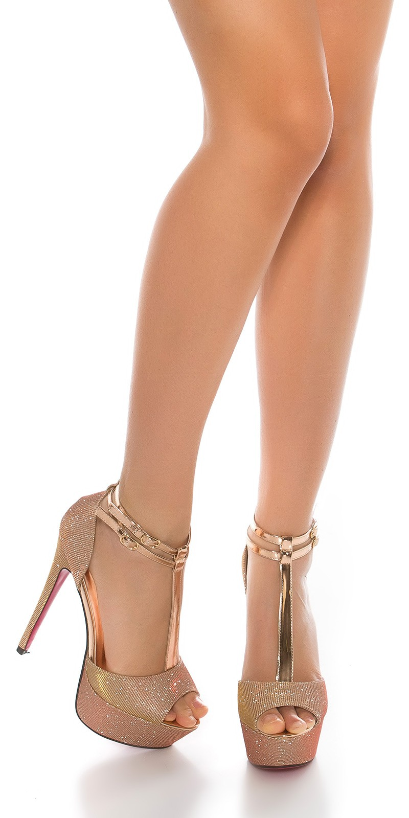 Sexy boty na vysokém podpatku s třpytkami růžové