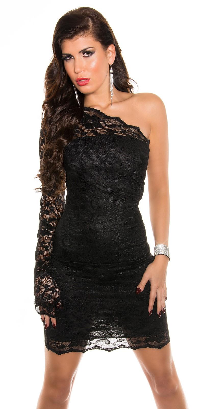 Krajkové asymetrické šaty Koucla přes jedno rameno černé