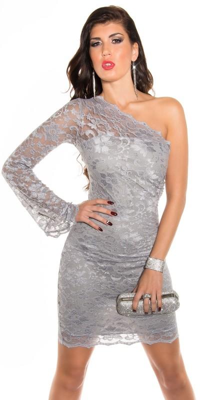 Krajkové asymetrické šaty Koucla přes jedno rameno šedé