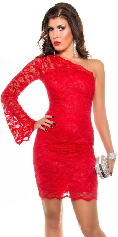 Krajkové asymetrické šaty Koucla přes jedno rameno červené