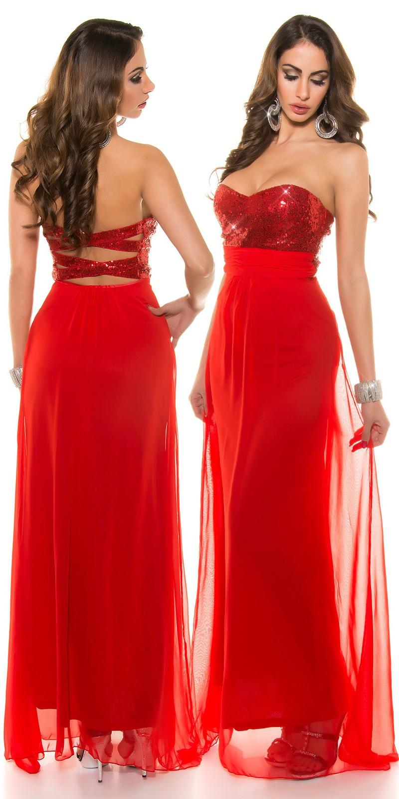 Večerní společenské plesové šaty Koucla červené