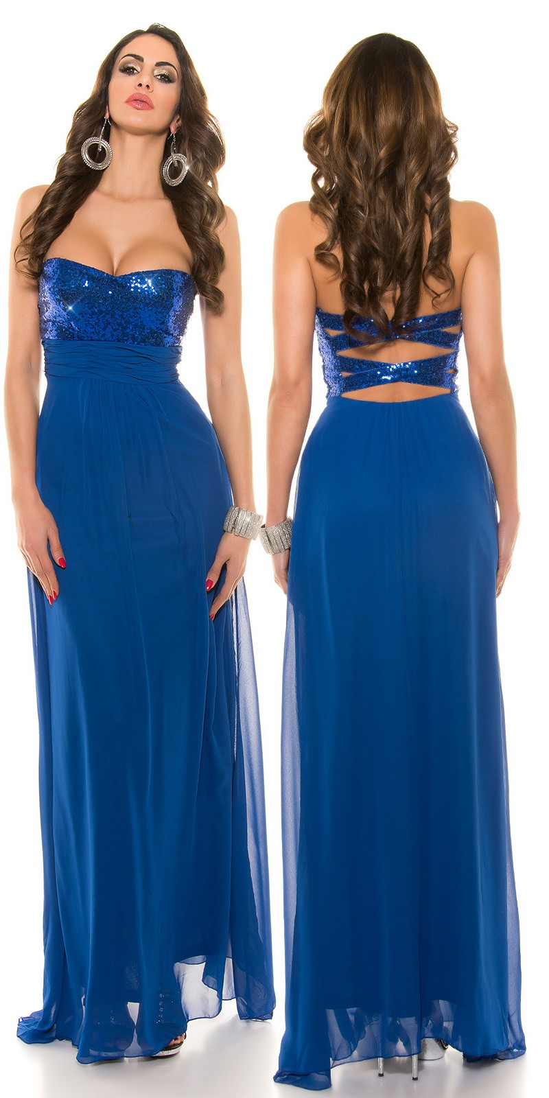 Večerní společenské plesové šaty Koucla modré