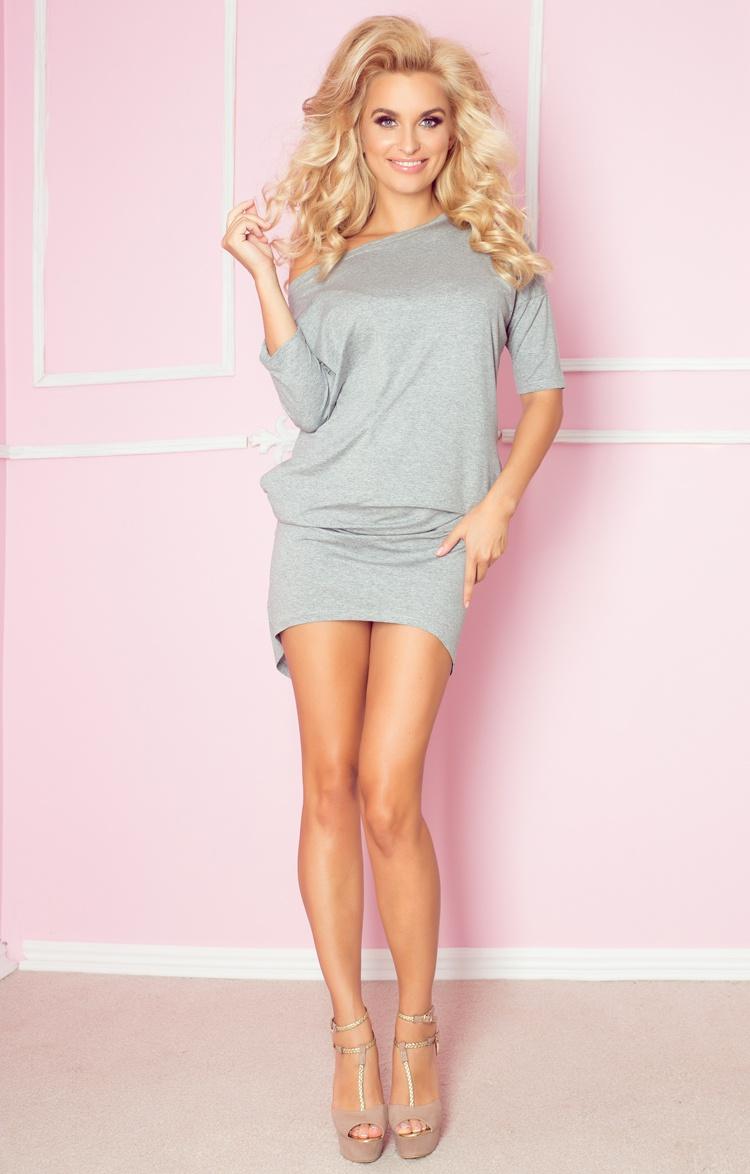 NUMOCO 64-5 sexy asymetrické šaty Mirela šedé  73b49f75e5b
