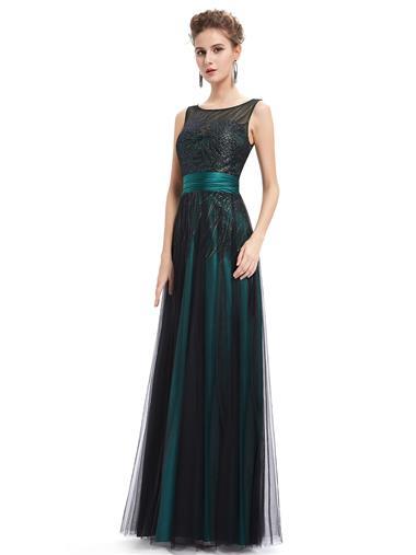 Elegantní dlouhé večerní společenské šaty EverPretty smaragdově zelené