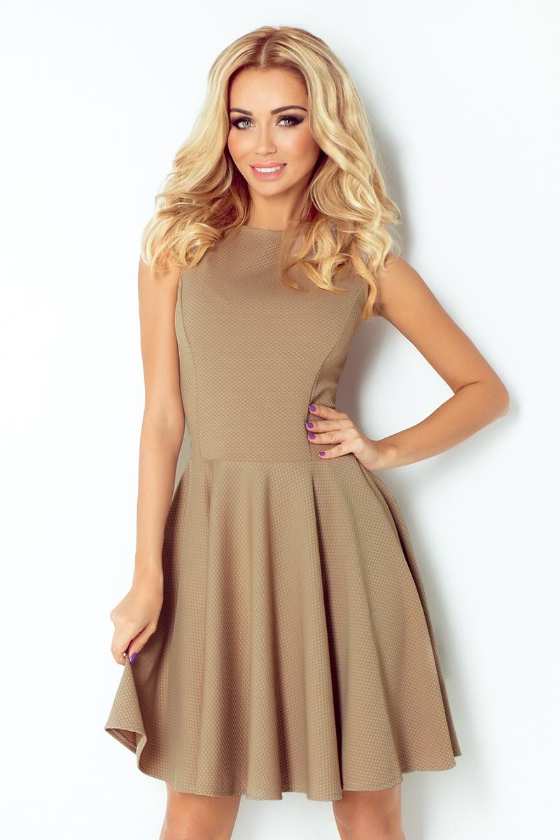NUMOCO 125-10 dámské elegantní šaty mocca  c2f6118375