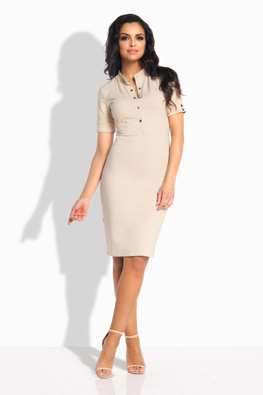 f511426d1d1 Luxusní bavlněné šaty LEMONIADE L191-3 béžové