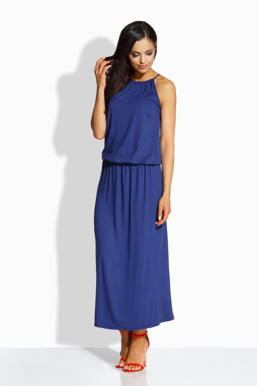 Dlouhé letní šaty LEMONIADE L213-2 modrá