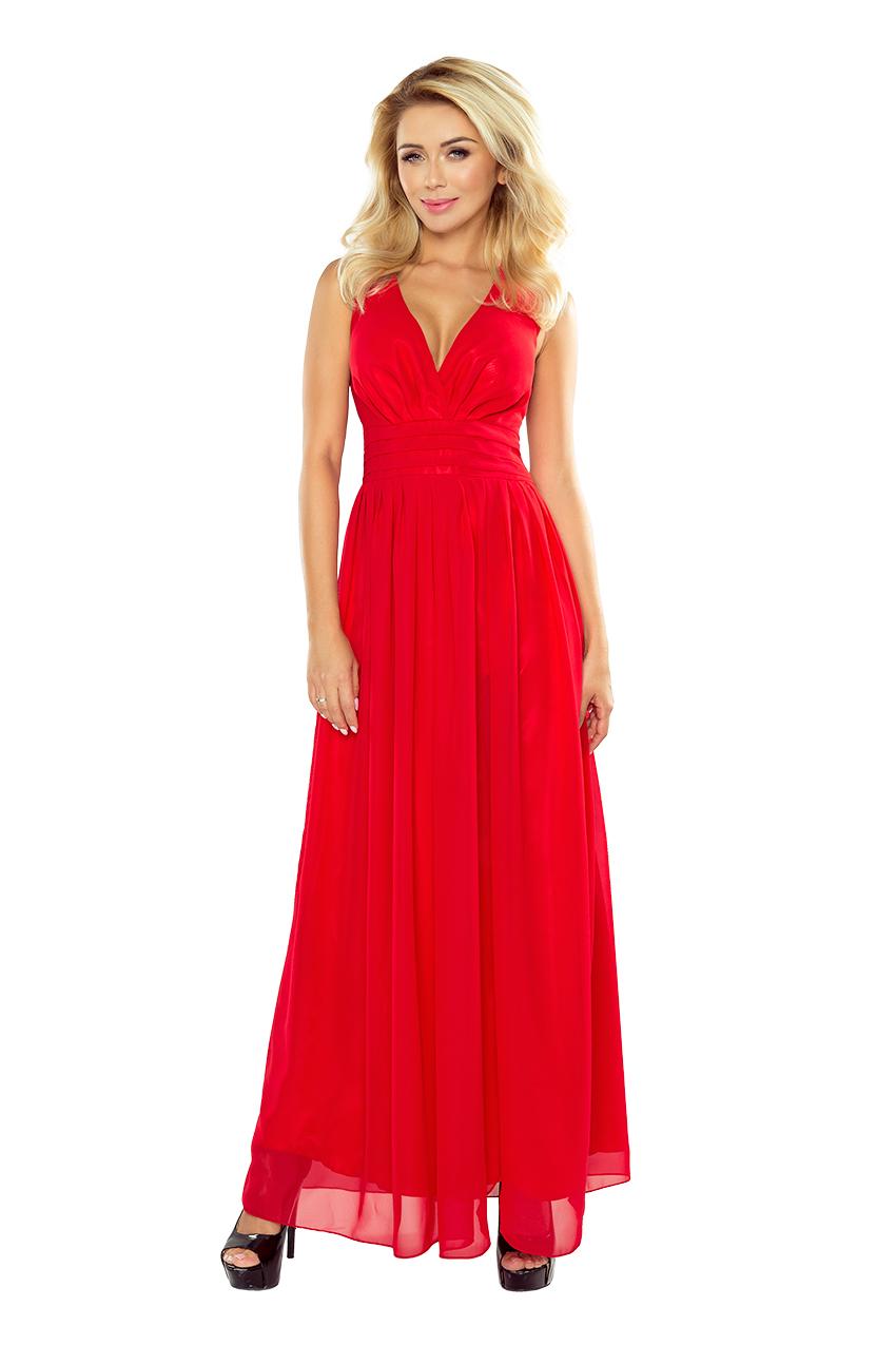 Dlouhé společenské šaty Numoco 166-2 červené
