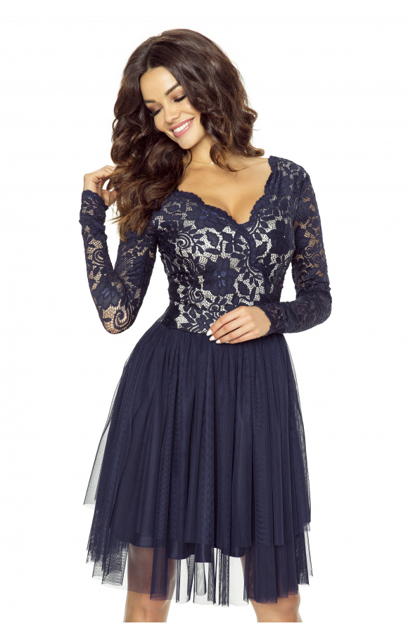Krajkové šaty s tylovou sukní Kartes KM242-3 modré
