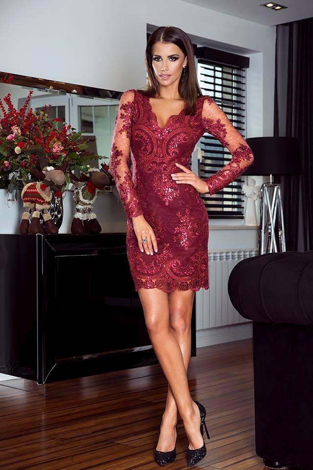 Krajkové šaty Vanessa vínové