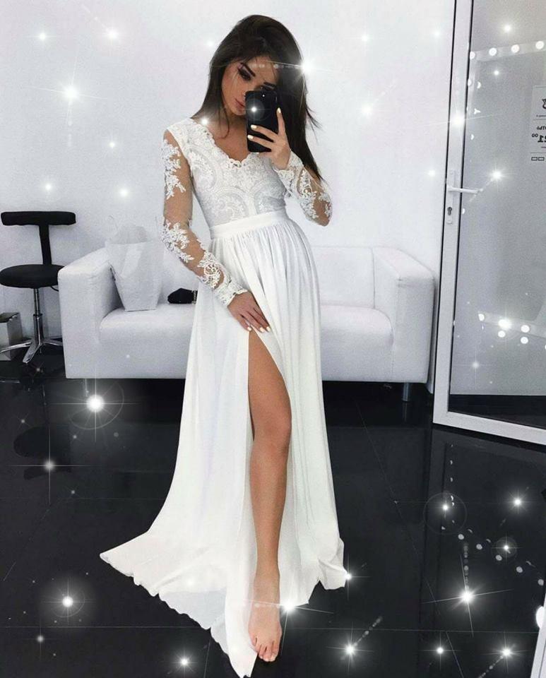 Dlouhé elegantní šaty Leila bílé