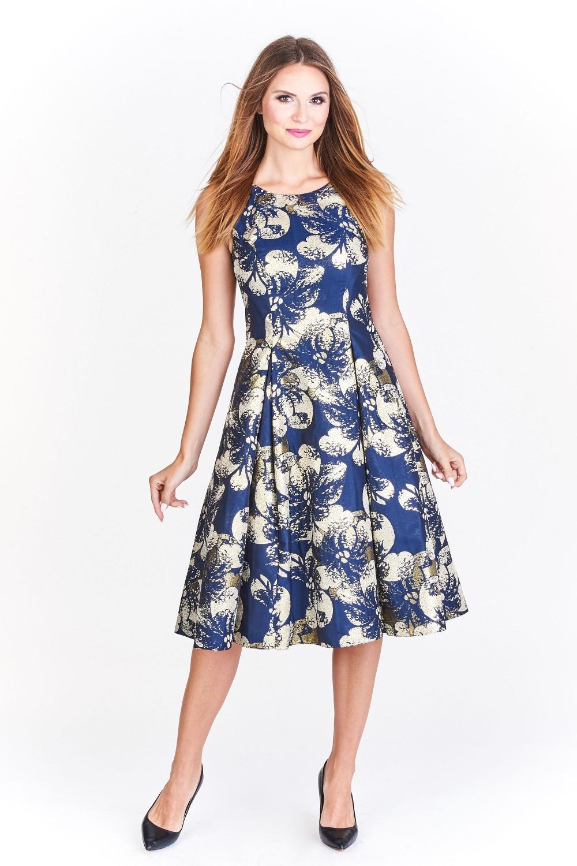 Šaty Gratex s rozšířenou sukní pod kolena modré