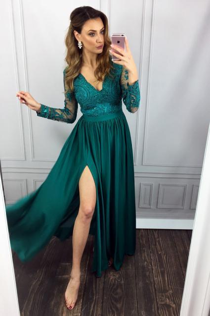 3e4764847ec Elegantní šaty Leila zelené
