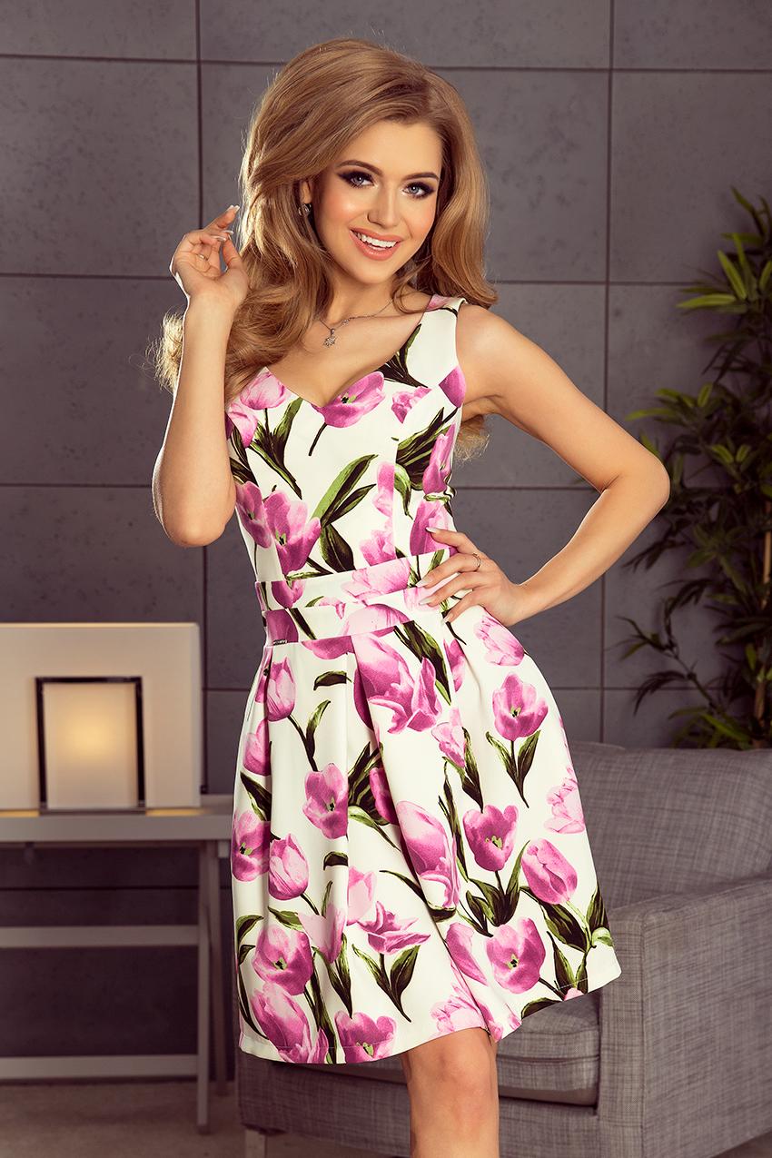 1ca10fc0123 Elegantní šaty Numoco 160-4 bílé s tulipány