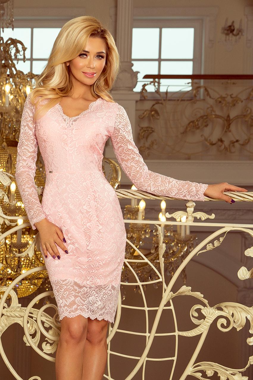 da8347b943a Midi krajkové šaty dlouhý rukáv Numoco 170-4 světle růžové