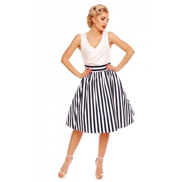 Dámské retro šaty Dolly and Dotty MAY bílé s modrými pruhy  8278f559ec