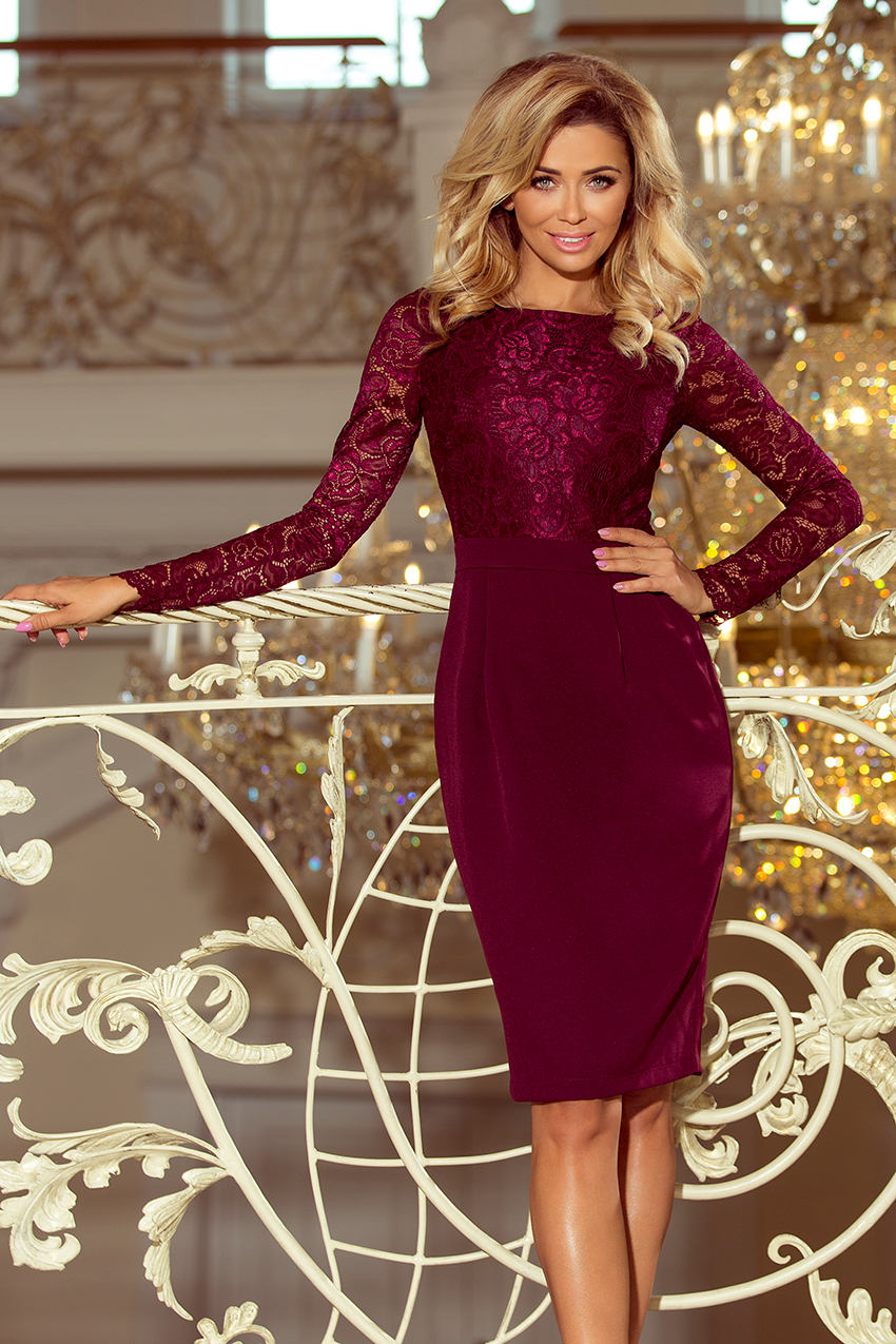 34fb2838d59 Elegantní pouzdrové šaty Numoco 216-3 s dlouhým rukávem bordó ...