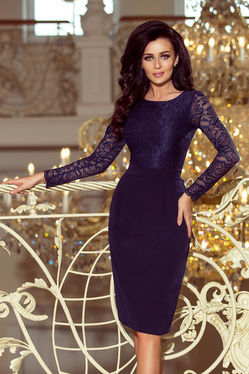 Elegantní pouzdrové šaty Numoco 216-1 s dlouhým rukávem tmavě modré ... c6350ff292