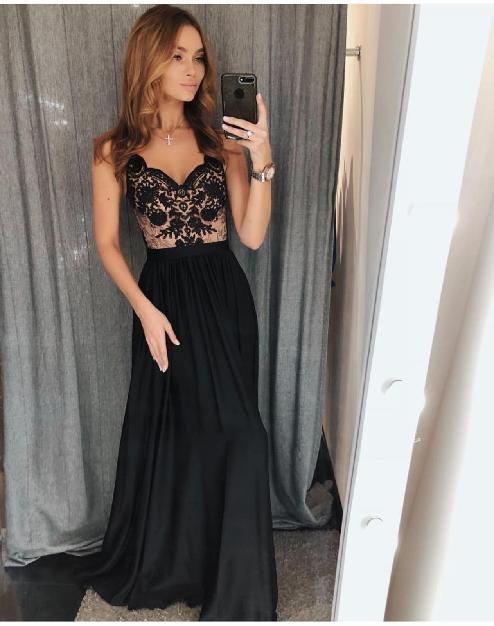 e4f8e152b6 Dlouhé elegantní šaty Juliette černé s béžovou