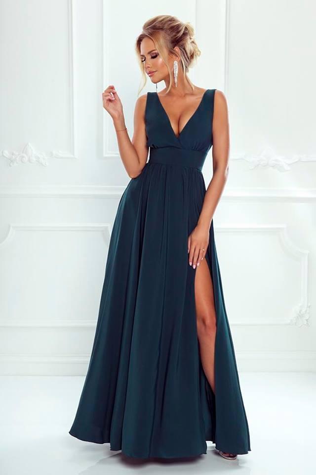 Dlouhé elegantní šaty NANA zelené  9f9b808e9ec