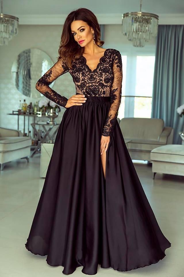 Dámské večerní šaty Leila černobéžové  15af7dc5f1c