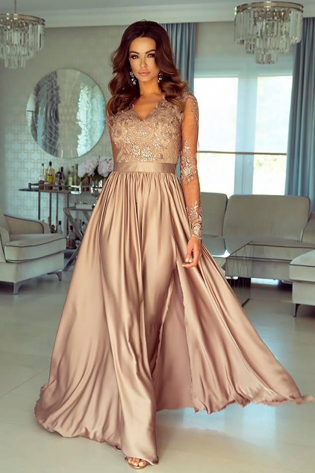 0ea8ccf1919 Dámské večerní šaty Leila capuccino