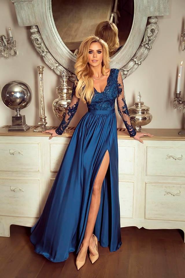66e61a14f1ac Dámské večerní šaty Leila petrolejové