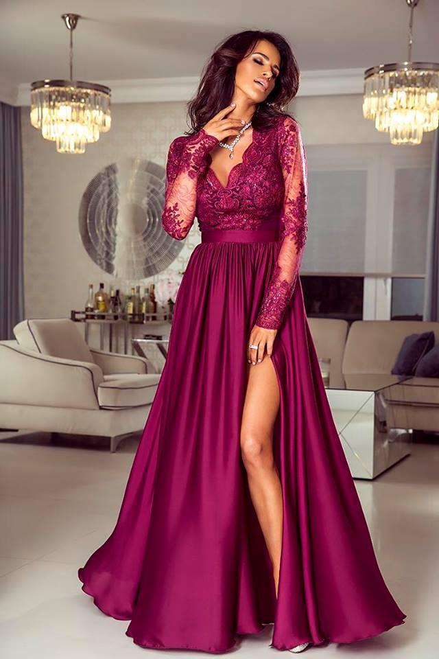 e699083069a Dámské večerní šaty Leila bordó