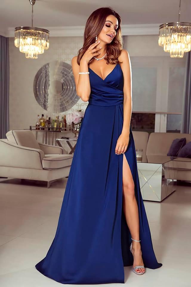 Dlouhé společenské šaty Lara tmavě modré  10c7e97938