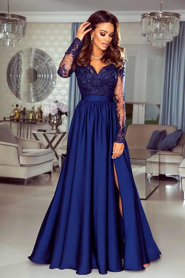 3ad7eb4686e Dámské večerní šaty Leila tmavě modré