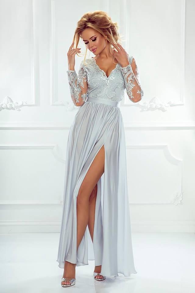 Dámské večerní šaty Leila šedé  3e82a379f41
