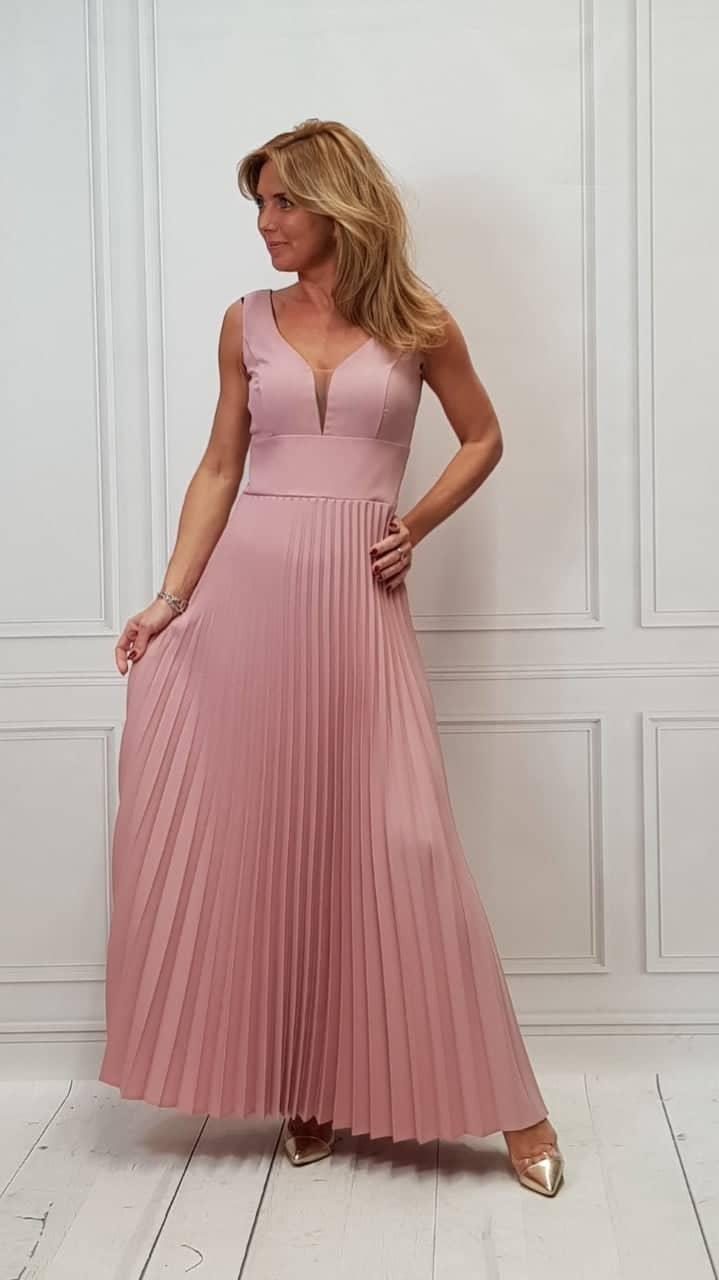 Dlouhé plisované šaty PARIS růžové  62be5742b40