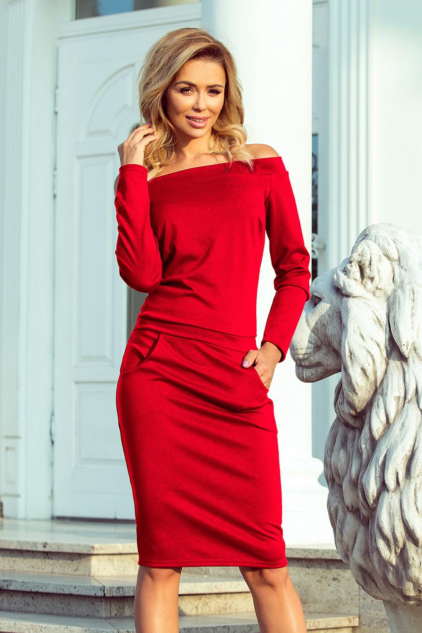 b9813a81f162 Dámské šaty RAYA 225-3 s odhalenými rameny červené