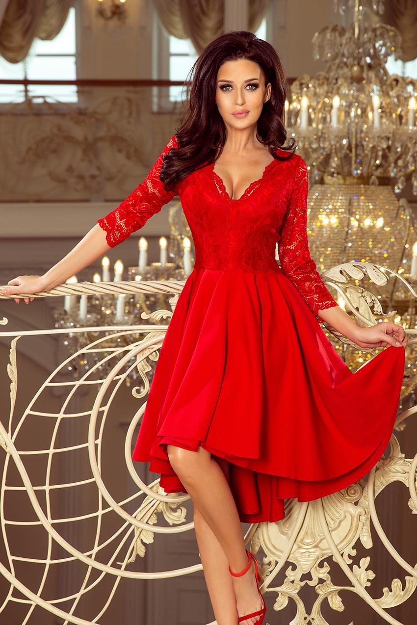78dc5b54ae04 Dámské šaty s 3 4 rukávem Nicolle 210-6 červené