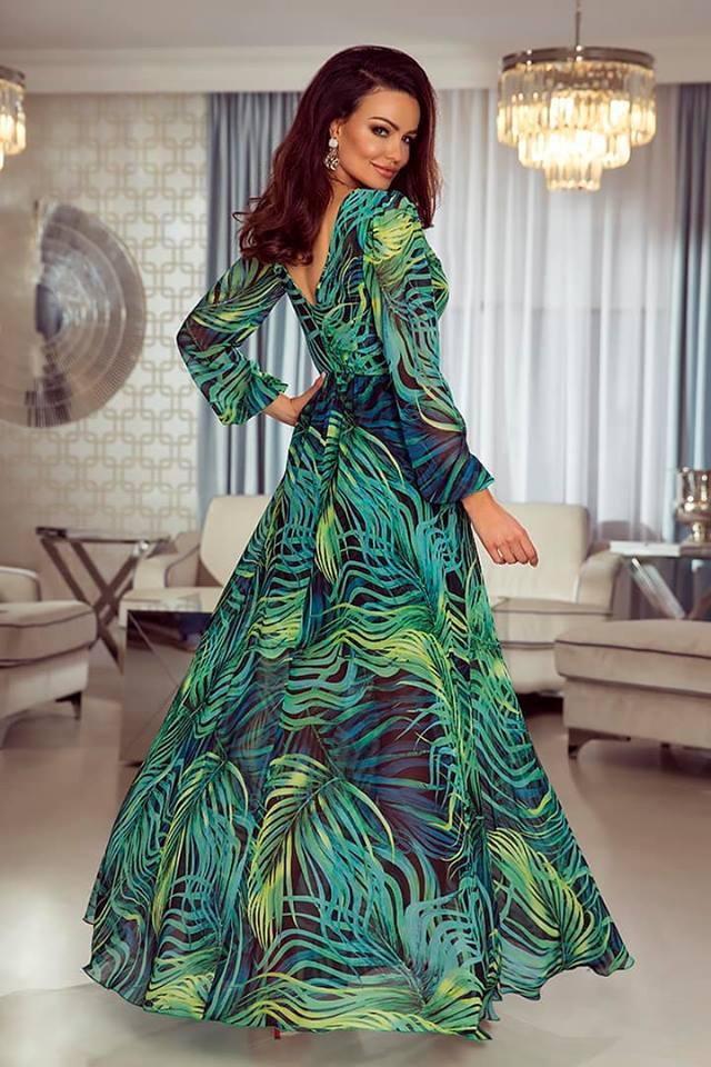 3ad0bca20199 Dlouhé šifónové šaty Linda palmové listy