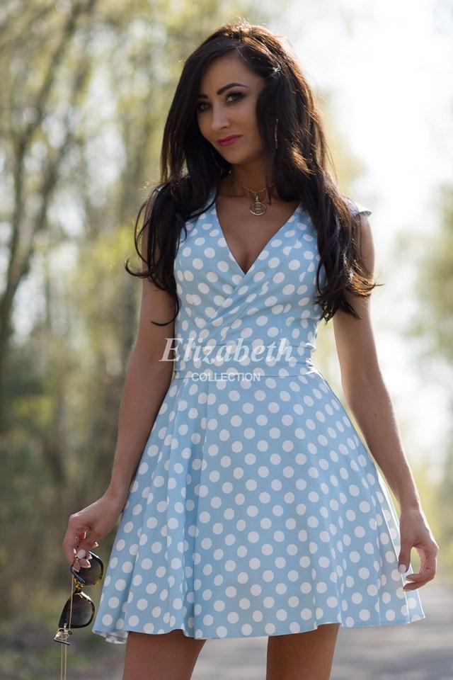 6b9e456d9042 Dámské puntíkované šaty VIKI světle modré