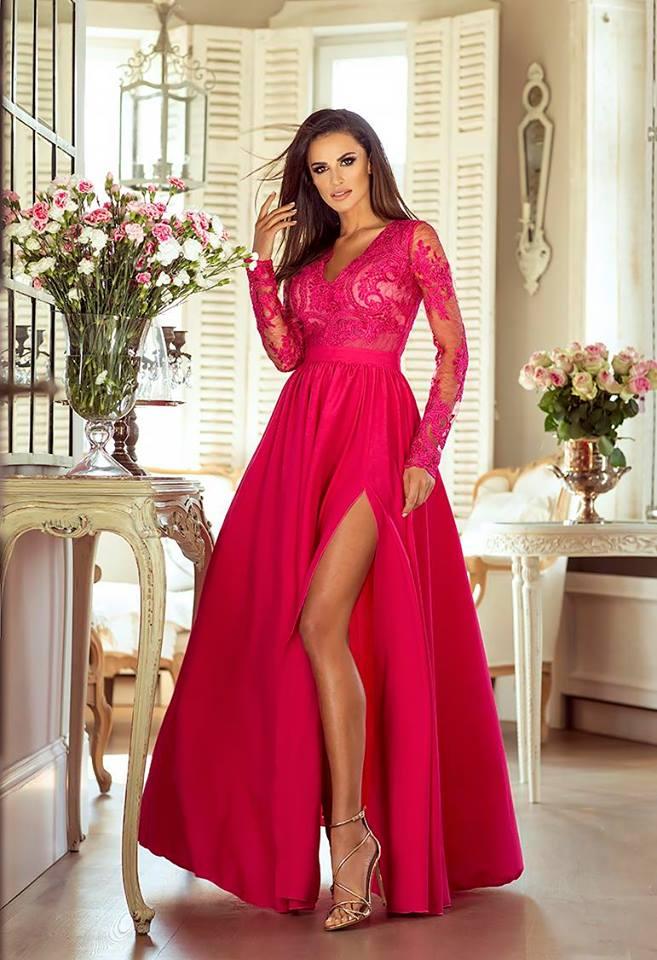 19d1d047ae0 Elegantní šaty Leila magentové
