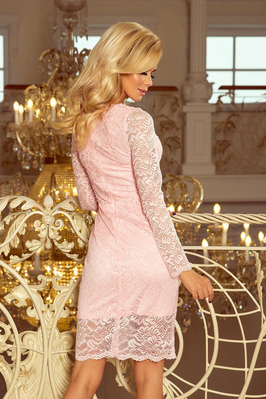 a2677ad81881 Midi krajkové šaty dlouhý rukáv Numoco 170-4 světle růžové
