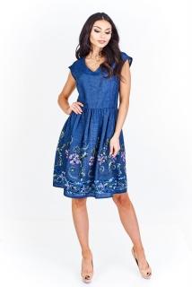 ee8a45b28a2a Jeansové šaty bavlněné Martex s květinami empty