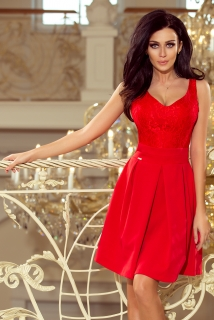 d19f5114166 Dámské šaty s krajkovým výstřihem Numoco 208-2 červené empty