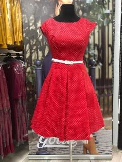 ee8573bacfb Retro šaty Zuzka červené s malými bílými puntíky empty