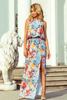 15f53a21df0 Maxi šaty Numoco 191-5 s rozparkem modré s květinami empty